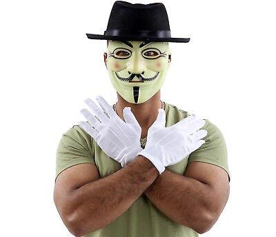 ANONYMOUS HACKER V FOR VENDETTA YELLOW FACE MASK BLACK HAT GLOVES FANCY - V For Vendetta Gloves