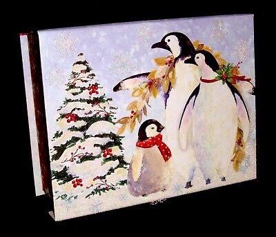 Punch Studio Jewel Flip Top Nesting Box Christmas Penguin Family 43079 medium