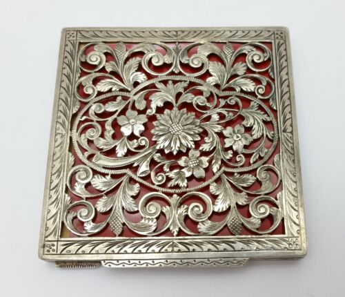 Vintage Engraved Silver 800 Stamped  Floral Design Makeup Box
