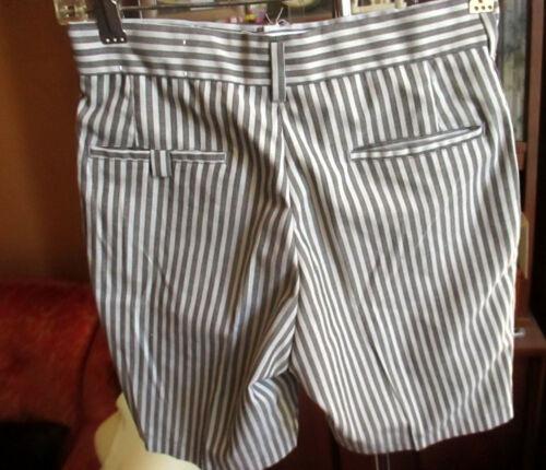 "25"" 25W BOYS GIRLS Vtg 70s FARAH GREY/WHITE STRIPED PREP IVY LEAGUE Shorts"