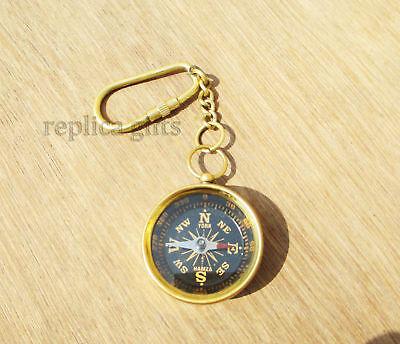 Brass Compass Keychain Marine Nautical Key Ring Bulk Wholesale Lot of 10 Pcs