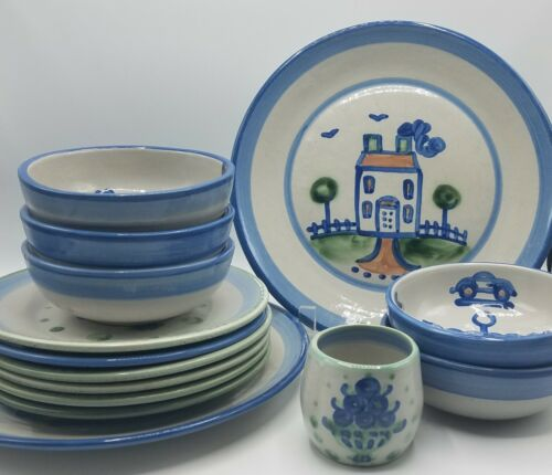 Lot of 14 M.A. Hadley Pottery, Bouquet, Ships & Whales, Country Scene Blue