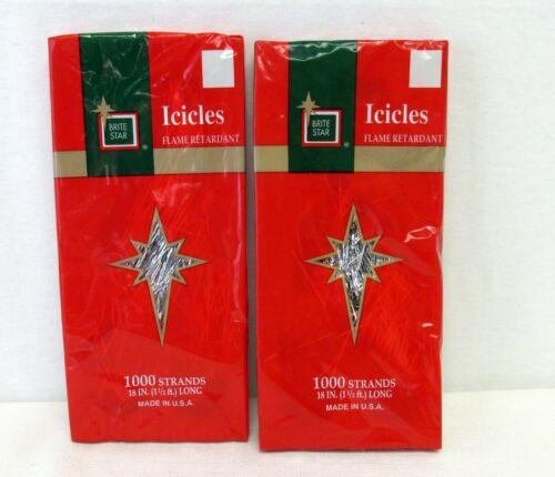 "2 Brite Star Icicles Tinsel Garland Silver 2000 Strand Flame Retardant 18"" USA"