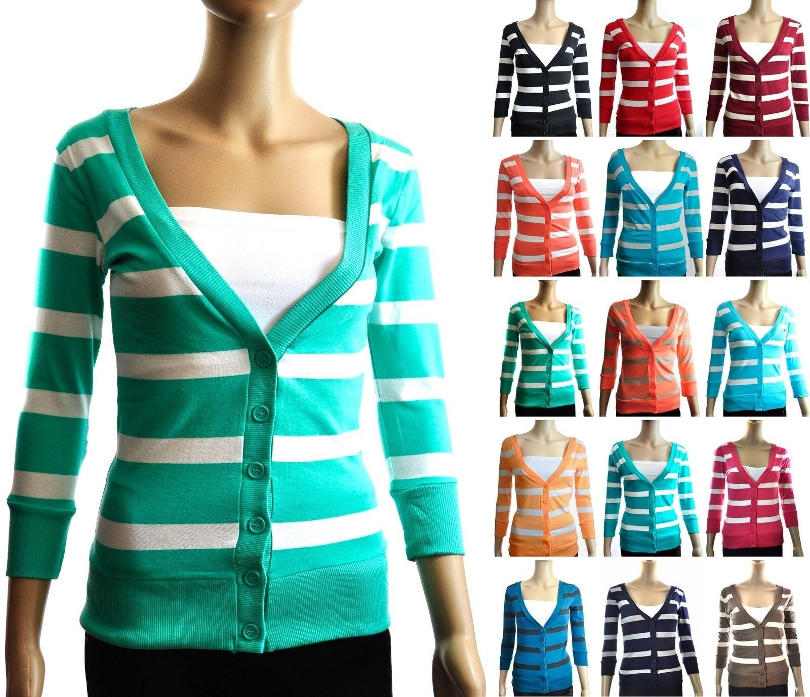 STRIPED V-Neck Button Up Three-Quarter-Length Sleeves CARDIGAN Top S ~ L