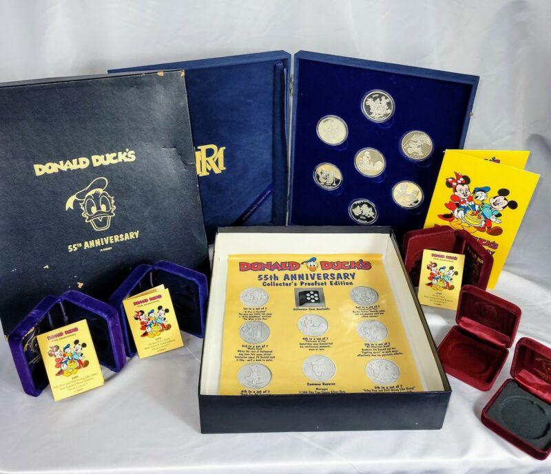 1989 Disney Donald Duck 55th Anniversary 1 T Ounce .999 Fine Silver 7 Coin set
