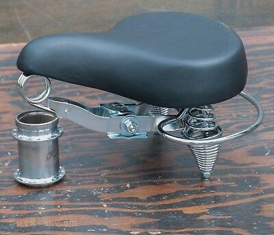 Deluxe Synthetic Saddle (Black Deluxe Cruiser Bicycle SADDLE w Crash Rail Vintage Schwinn Tank Bike)