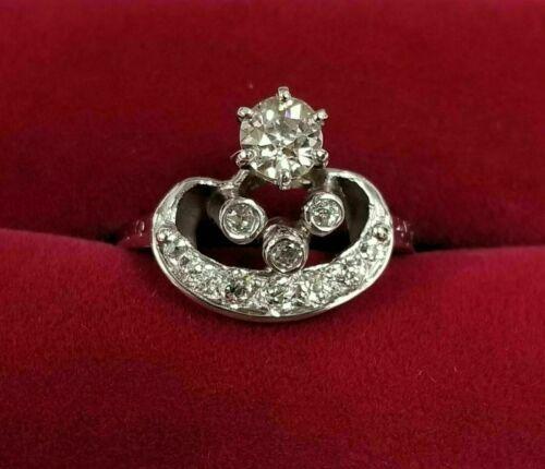 Antique Art Deco Engagement Wedding Vintage Ring 925 Sterling Silver 1Ct Diamond
