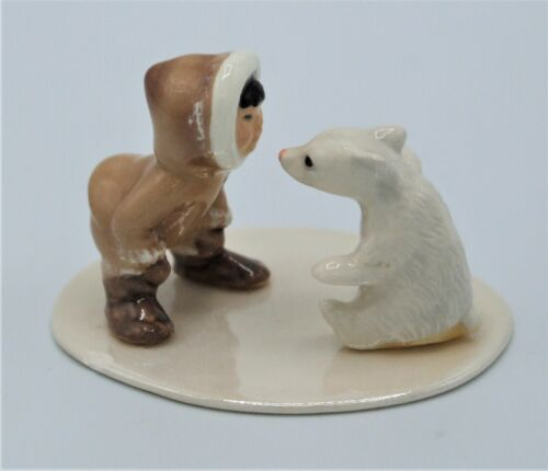 Hagen-Renaker Eskimo With Polar Bear Cub on Base - #94529