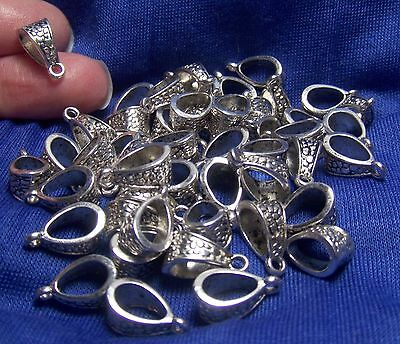 JEWELRY MAKING SUPPLIES BULK LOT OF 50 PENDANT BAILS-ANTIQUE SILVER TONE METAL-