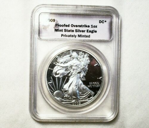 """Daniel Carr - 2009-DC """"Proofed"""" Over-Strike, 1 Oz. Mint State Silver Eagle"""