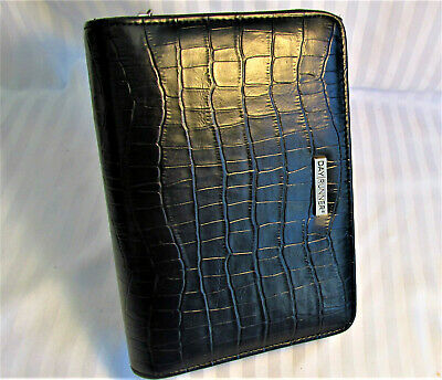 Very Nice - New Day Runner Compact Size Planner Black Simulated Moc Croc Ez Zip