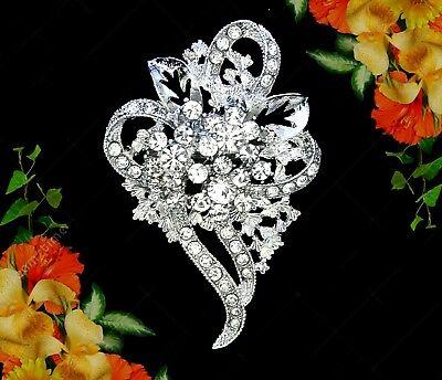 WHITE FLOWER HEART CLEAR RHINESTONE CRYSTAL WEDDING DRESS SASH SILVER BROOCH PIN Crystal Heart Pin