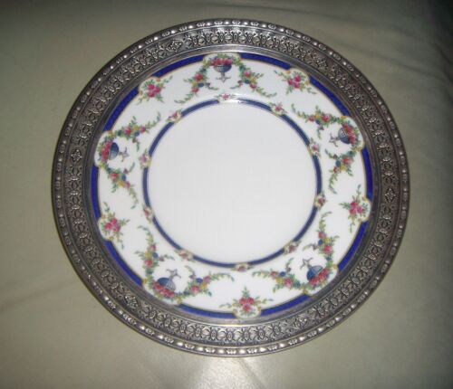 Royal Worcester Rosemary Dark Blue Reticulated Sterling Surround Plate 8 1/2""