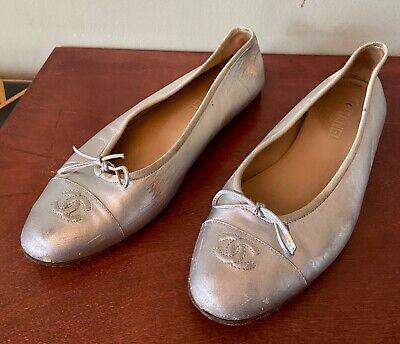 Chanel Metallic Silver Leather Cap ToeFlat Ballet Women ShoesSz 42/ US 10
