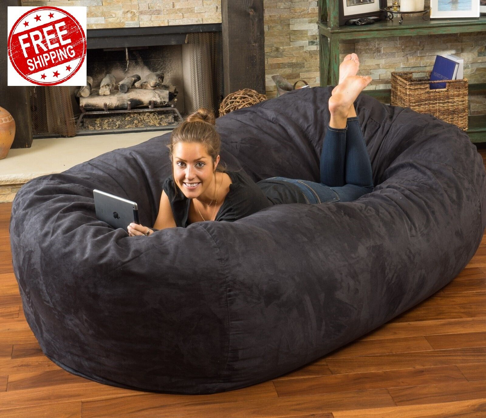 Giant 8 Ft Bean Bag Lounge Chair Large