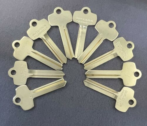 Lot of 10 Nickel Silver A1114E 1A1E1 BES-5DS Type Key Blanks for Best E Keyway