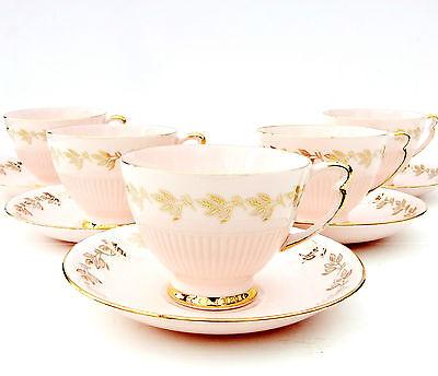 Vintage Colclough Pink Bone China Tea Set 5 Cups Saucers