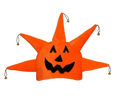 Halloween Pumpkin Head Hat, Jack O Lantern Jester Star Costume Jingle Bell Cap](Pumpkin Head Halloween)