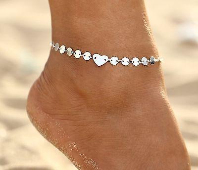 ☆ Silberne Fußkette | Herz & Kreis | Damen | 23-28cm | Silber Edelmetall ☆