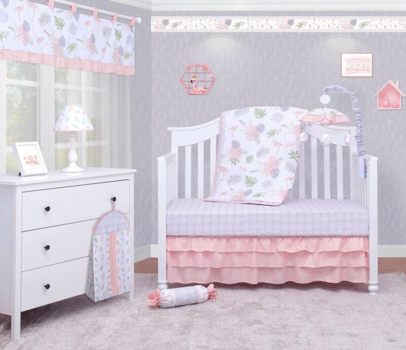 6-Piece Birds Flamingos Baby Girl Nursery Crib Bedding Sets By OptimaBaby