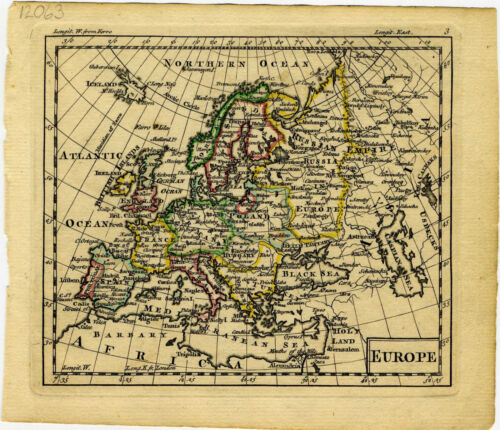 1761 Genuine Antique miniature hand colored map of Europe. by A. Dury