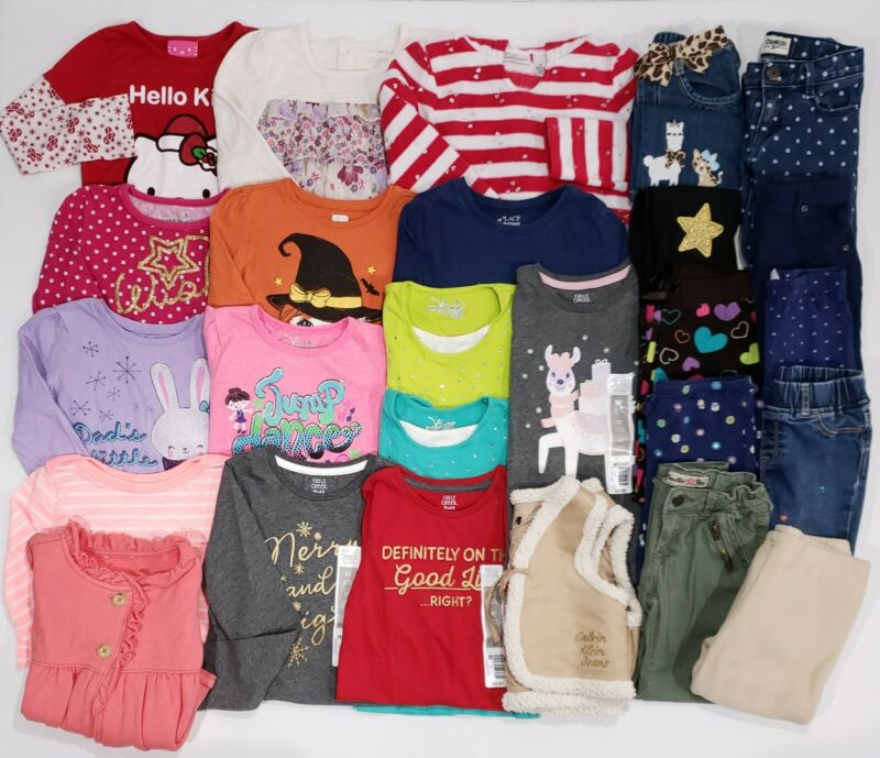Girls Size 5T & 5 Clothes Lot Fall Winter 26 Pieces Shirts Leggings Jeans