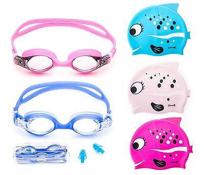 Kids Swimming Goggles Adjustable Anti Fog and Fish Designed Swim Cap Combo Pack - Cap And Goggles