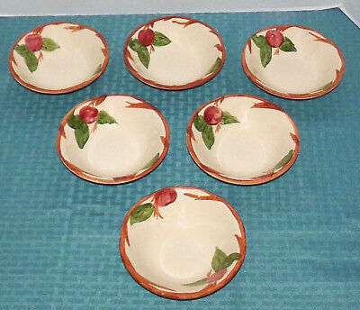 """(6) Franciscan Staffordshire Eng. Apple 5 7/8"""" 8 oz. Coupe Cereal Soup Bowls VGD"""