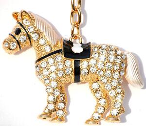 HORSE Keyring Diamante Rhinestone Charm Ladies Bling Handbag K50629