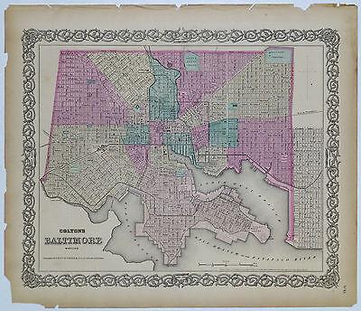 1855 Genuine Antique map of Baltimore, Maryland. Signature Border. Colton