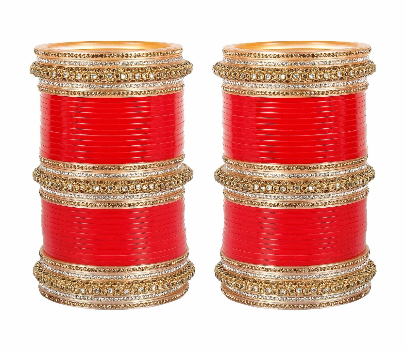 Bc-282 Indian Bollywood Red Golden Cz Stone Bridal Chuda ...