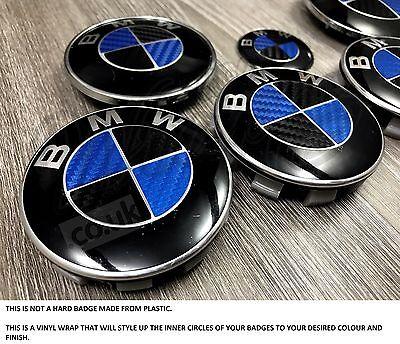 BLACK  BLUE CARBON FIBER Badge Overlay WRAP FOR BMW HOOD TRUNK RIMS FIT ALL BMW