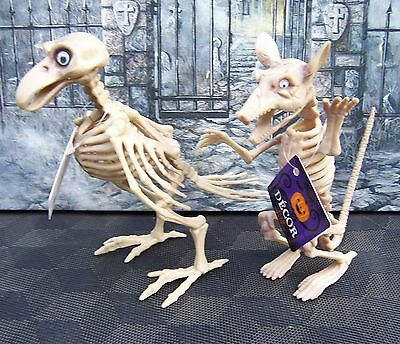 "Set Of 2) BIRD & RAT SKELETON HALLOWEEN POSEABLE JAW, HEAD, & WINGS 7 1/4"" Tall"
