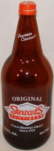 Vintage soda pop bottle STEWARTS ROOT BEER amber 32oz new old stock n-mint+