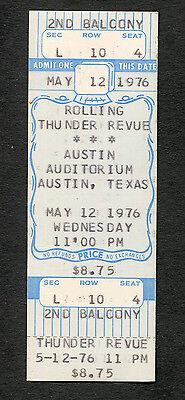 Bob Dylan 1976 Rolling Thunder Revue Unused Full Concert Ticket Austin TX Desire