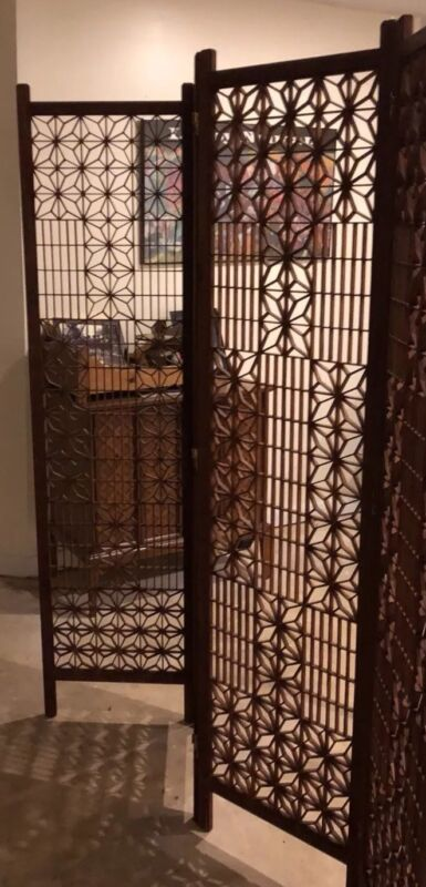 Antique Japanese 4 Panel Wood Folding Screen Room Divider