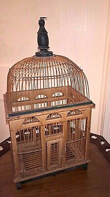 """Vintage Wood Wire Dome Top Victorian Bird Cage- 22.5"""" Tall 12 X 9"""" - Decor"""