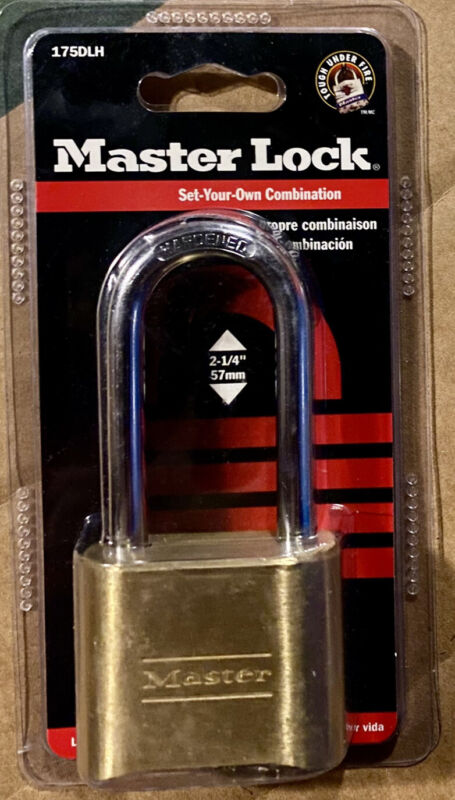 """Master Lock 175DLH  2"""" x 2-1/4"""" Brass Padlock Set Your Own Combination NEW"""