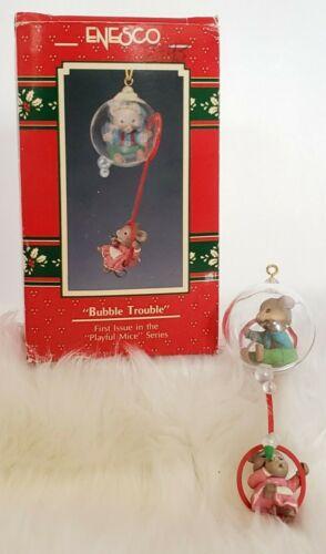 Enesco Bubble Trouble Playful Mice Series Vintage Christmas Mouse Ornament 1990