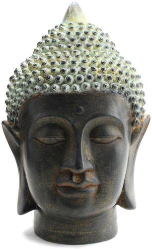 "Smiling Meditating Buddha Shakyamuni Head Statue 10.5"" Tall Blessing Mercy &Love"