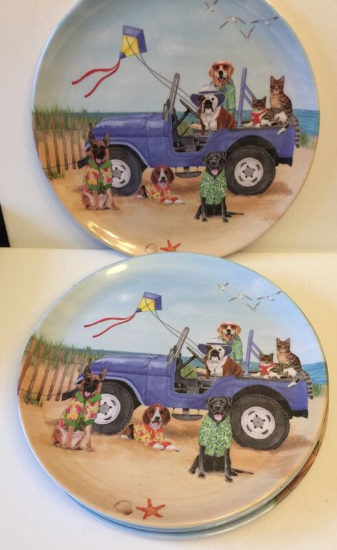 SUMMER CLEARANCE PRICED!!!English Bulldog And Friends In Jeep On Beach Plates