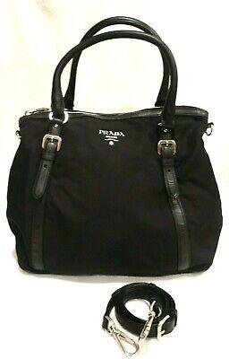 "AUTHENTIC  PRADA Black Tessuto Nylon & Leather 2 Way Handbag, 13"" x 12""x 7"""