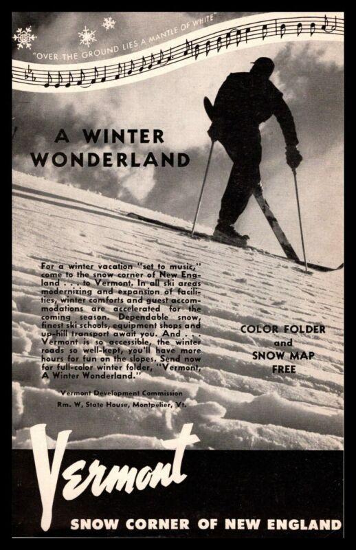 "1951 Vermont Development Commission ""Snow Corner Of New England"" Ski Print Ad"