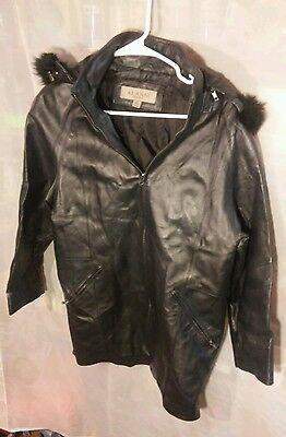 Vintage Alanni Moda Bella Black Leather Coat w/ Fur Lined Hood Women's sz S Bella Leather Coat