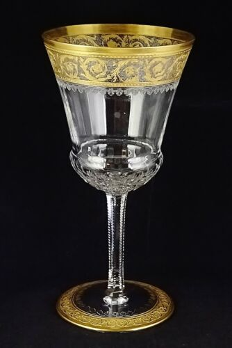 Vintage St. Louis Crystal Thistle Gold Encrusted Continental Water #2 Goblet