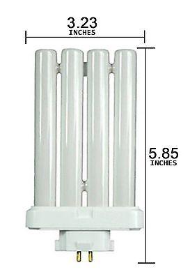 2PK - 4 Pins Quad Tube Compact Fluorescent Daylight Light Bulb Lamp 6500K 27Watt Daylight Compact Fluorescent Light Bulb