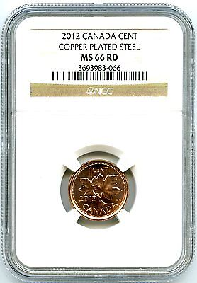 2012 CANADA CENT NGC MS66 RD MAGNETIC STEEL HIGH GRADE LAST YEAR OF ISSUE RARE ! on Rummage