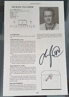 MICHAEL NYLANDER SIGNED 6x9 HARTFORD WHALERS NHL PAPER PHOTO - STATS BOOK NO COA