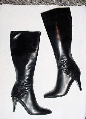 (WOMENS COLE HAAN ITALY BLACK PLEATED LEATHER TALL ZIP DRESS BOOTS 6 M)