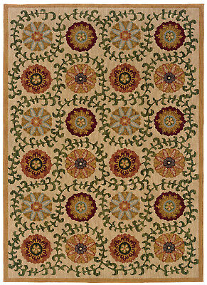 Beige Transitional Machine Made Circles Leaves Petals Area Rug Floral 2175E